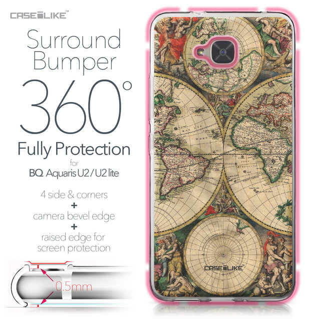 BQ Aquaris U2 / U2 Lite case World Map Vintage 4607 Bumper Case Protection | CASEiLIKE.com