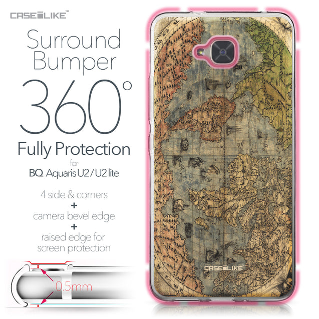 BQ Aquaris U2 / U2 Lite case World Map Vintage 4608 Bumper Case Protection | CASEiLIKE.com