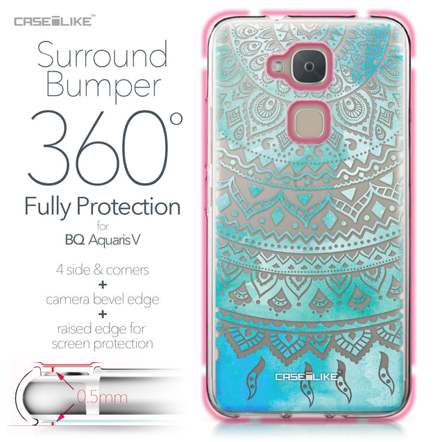BQ Aquaris V case Indian Line Art 2066 Bumper Case Protection | CASEiLIKE.com