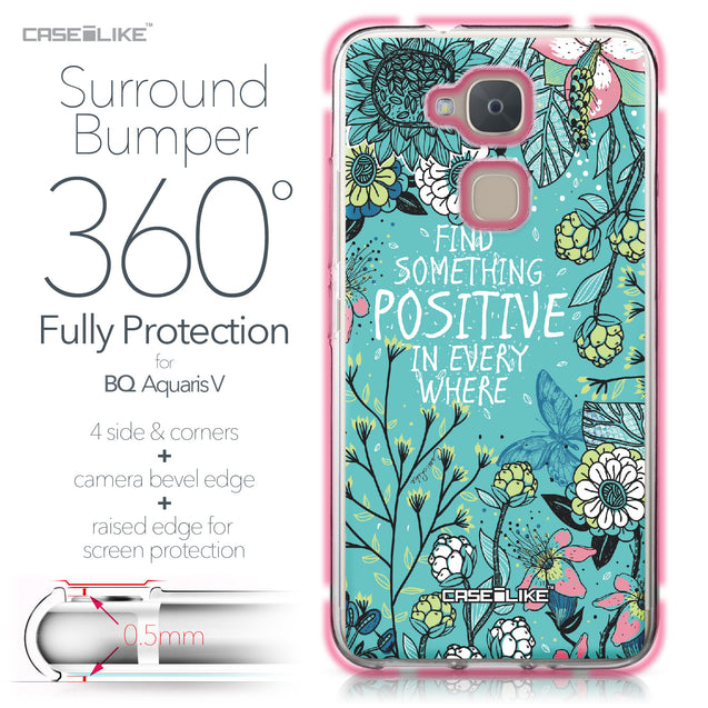 BQ Aquaris V case Blooming Flowers Turquoise 2249 Bumper Case Protection | CASEiLIKE.com
