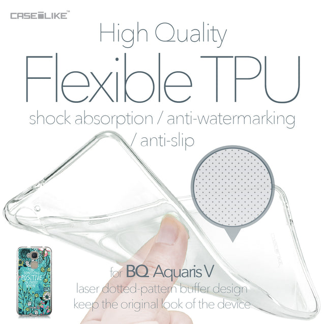 BQ Aquaris V case Blooming Flowers Turquoise 2249 Soft Gel Silicone Case | CASEiLIKE.com