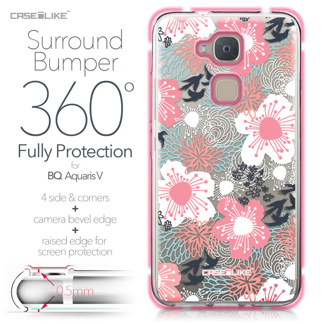 BQ Aquaris V case Japanese Floral 2255 Bumper Case Protection | CASEiLIKE.com