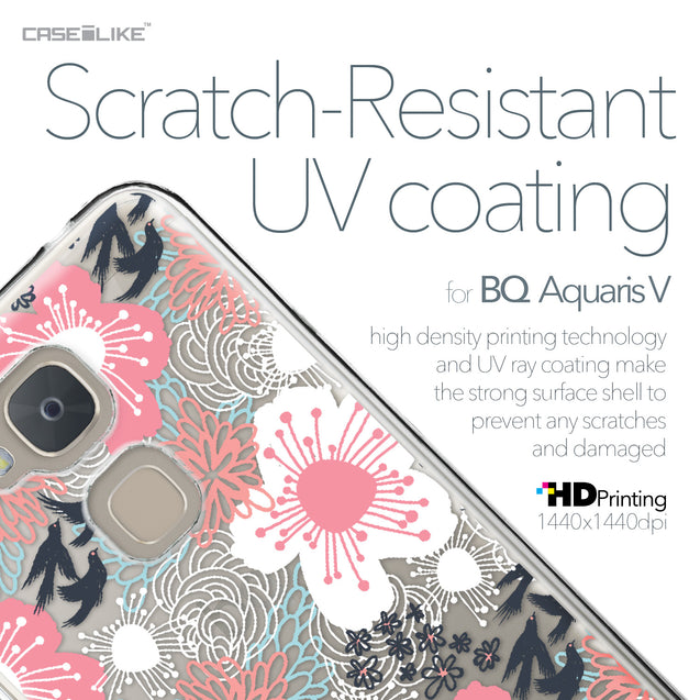 BQ Aquaris V case Japanese Floral 2255 with UV-Coating Scratch-Resistant Case | CASEiLIKE.com