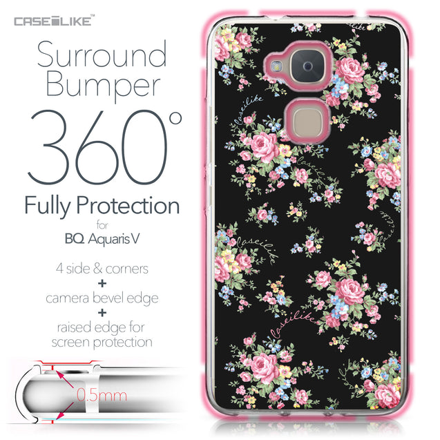 BQ Aquaris V case Floral Rose Classic 2261 Bumper Case Protection | CASEiLIKE.com