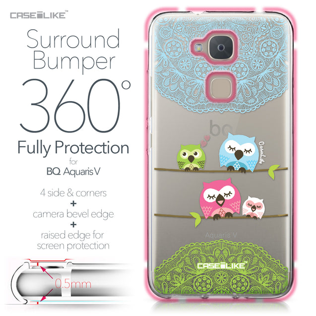 BQ Aquaris V case Owl Graphic Design 3318 Bumper Case Protection | CASEiLIKE.com