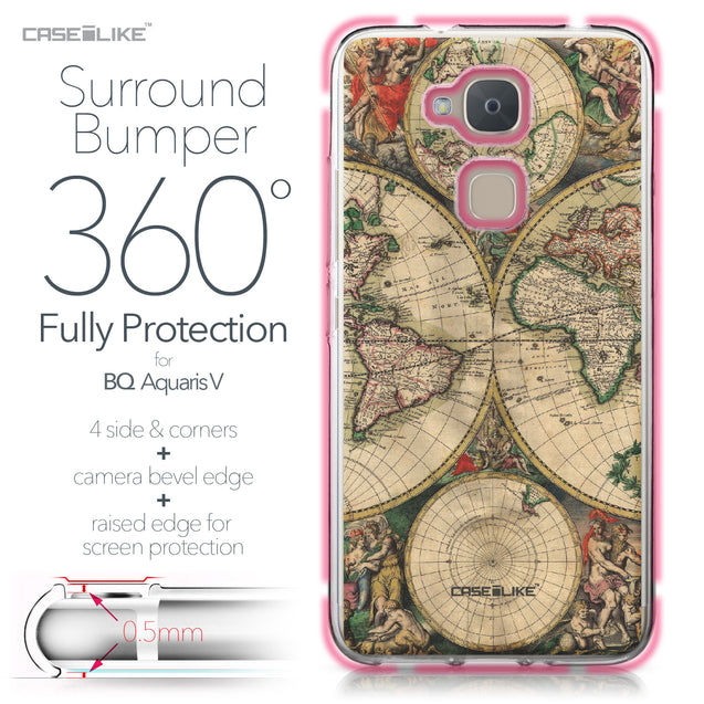 BQ Aquaris V case World Map Vintage 4607 Bumper Case Protection | CASEiLIKE.com