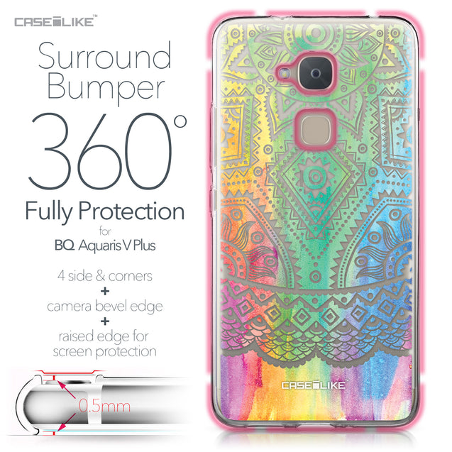 BQ Aquaris V Plus case Indian Line Art 2064 Bumper Case Protection | CASEiLIKE.com