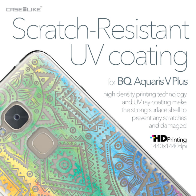 BQ Aquaris V Plus case Indian Line Art 2064 with UV-Coating Scratch-Resistant Case | CASEiLIKE.com