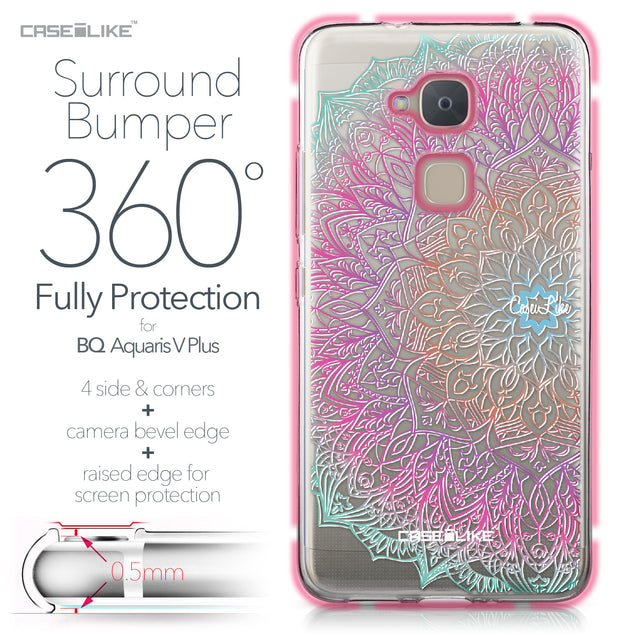 BQ Aquaris V Plus case Mandala Art 2090 Bumper Case Protection | CASEiLIKE.com