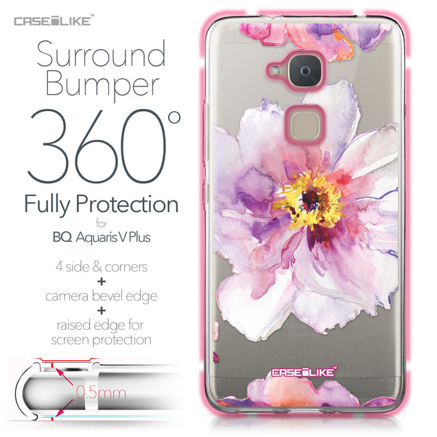 BQ Aquaris V Plus case Watercolor Floral 2231 Bumper Case Protection | CASEiLIKE.com