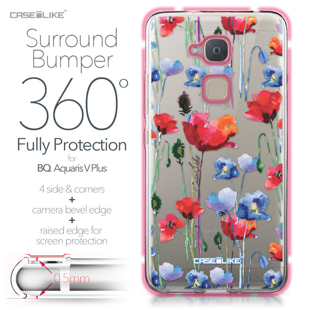 BQ Aquaris V Plus case Watercolor Floral 2234 Bumper Case Protection | CASEiLIKE.com