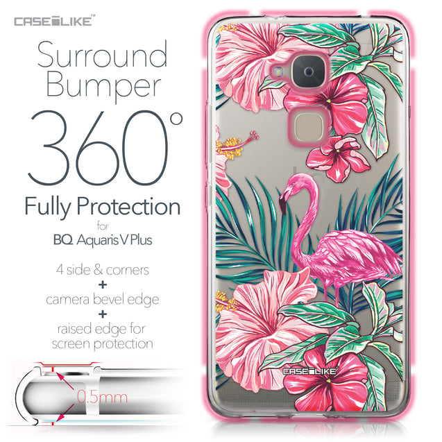 BQ Aquaris V Plus case Tropical Flamingo 2239 Bumper Case Protection | CASEiLIKE.com