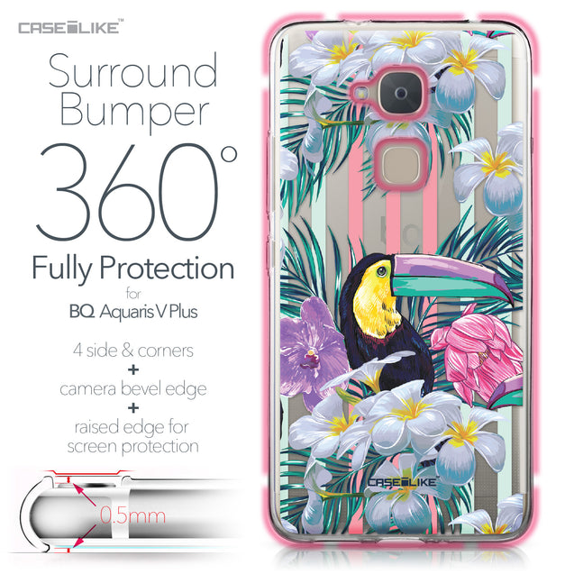 BQ Aquaris V Plus case Tropical Floral 2240 Bumper Case Protection | CASEiLIKE.com