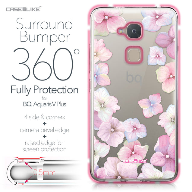 BQ Aquaris V Plus case Hydrangea 2257 Bumper Case Protection | CASEiLIKE.com