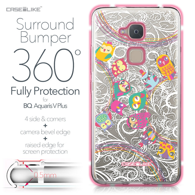 BQ Aquaris V Plus case Owl Graphic Design 3316 Bumper Case Protection | CASEiLIKE.com
