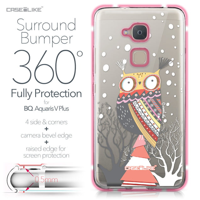 BQ Aquaris V Plus case Owl Graphic Design 3317 Bumper Case Protection | CASEiLIKE.com