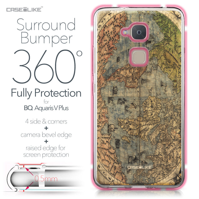 BQ Aquaris V Plus case World Map Vintage 4608 Bumper Case Protection | CASEiLIKE.com