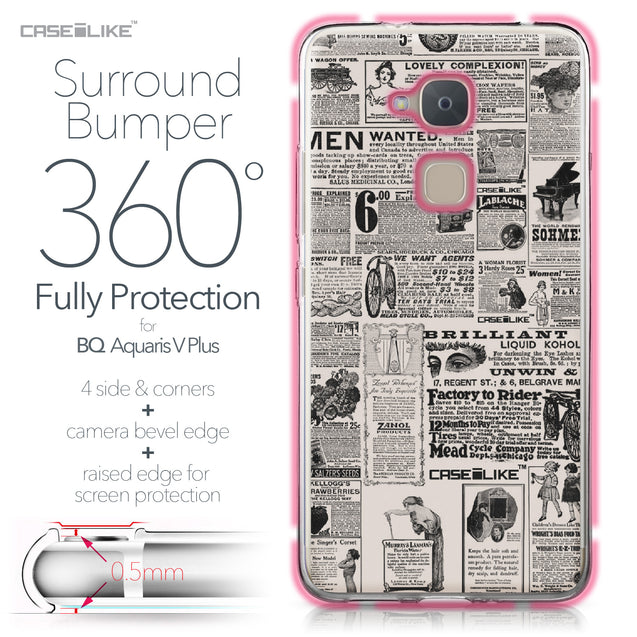 BQ Aquaris V Plus case Vintage Newspaper Advertising 4818 Bumper Case Protection | CASEiLIKE.com