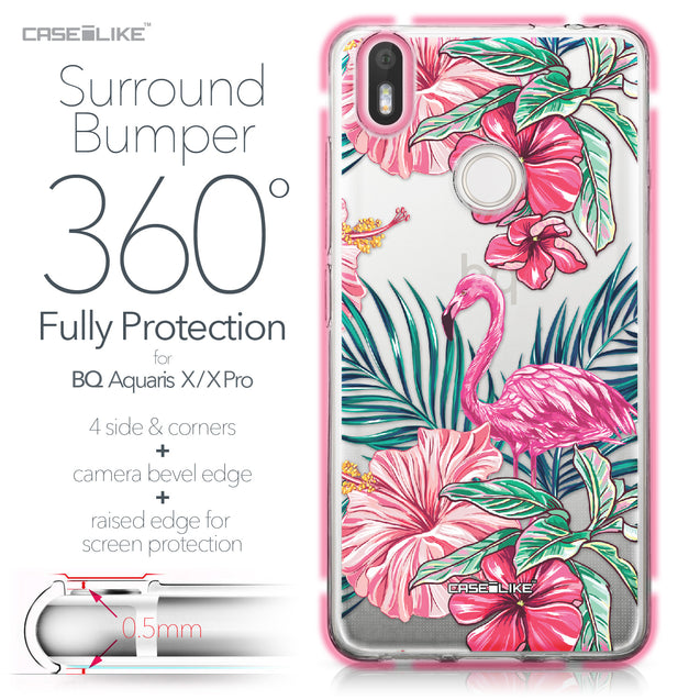 BQ Aquaris X / X Pro case Tropical Flamingo 2239 Bumper Case Protection | CASEiLIKE.com