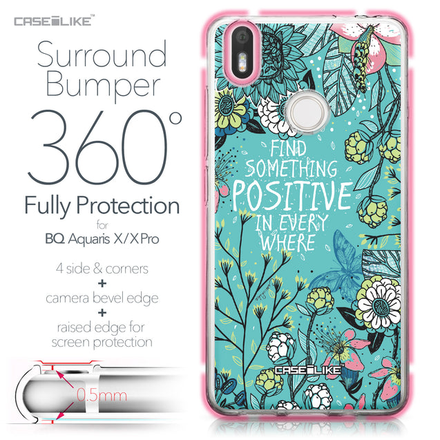 BQ Aquaris X / X Pro case Blooming Flowers Turquoise 2249 Bumper Case Protection | CASEiLIKE.com