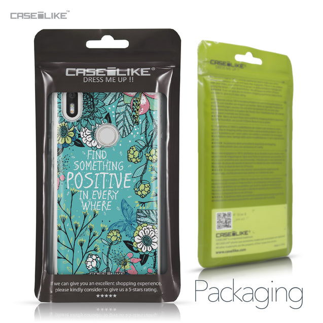BQ Aquaris X / X Pro case Blooming Flowers Turquoise 2249 Retail Packaging | CASEiLIKE.com