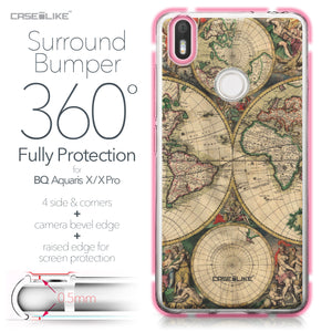 BQ Aquaris X / X Pro case World Map Vintage 4607 Bumper Case Protection | CASEiLIKE.com