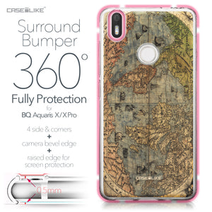 BQ Aquaris X / X Pro case World Map Vintage 4608 Bumper Case Protection | CASEiLIKE.com