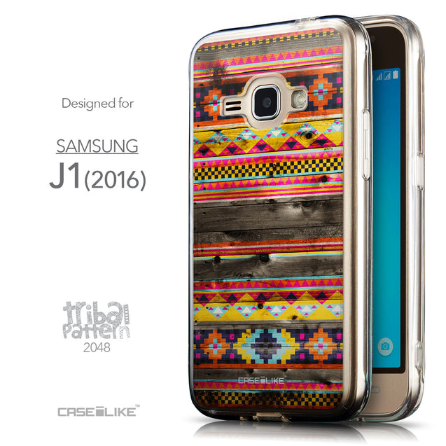Front & Side View - CASEiLIKE Samsung Galaxy J1 (2016) back cover Indian Tribal Theme Pattern 2048