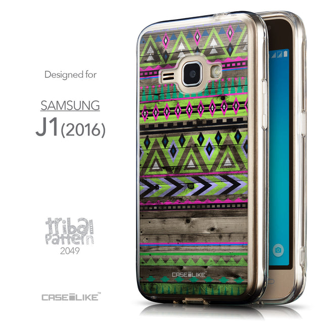 Front & Side View - CASEiLIKE Samsung Galaxy J1 (2016) back cover Indian Tribal Theme Pattern 2049