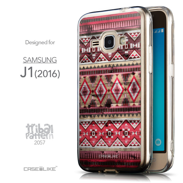 Front & Side View - CASEiLIKE Samsung Galaxy J1 (2016) back cover Indian Tribal Theme Pattern 2057