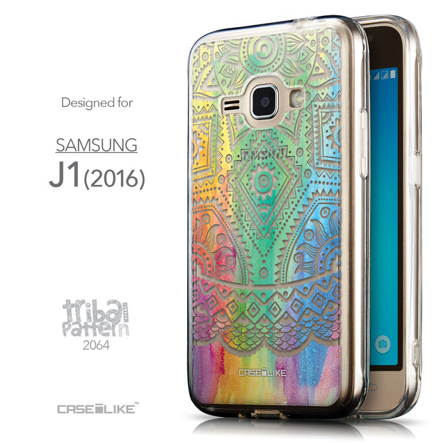 Front & Side View - CASEiLIKE Samsung Galaxy J1 (2016) back cover Indian Line Art 2064
