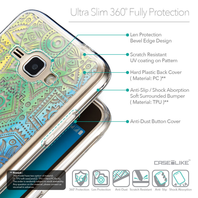 Details in English - CASEiLIKE Samsung Galaxy J1 (2016) back cover Indian Line Art 2064