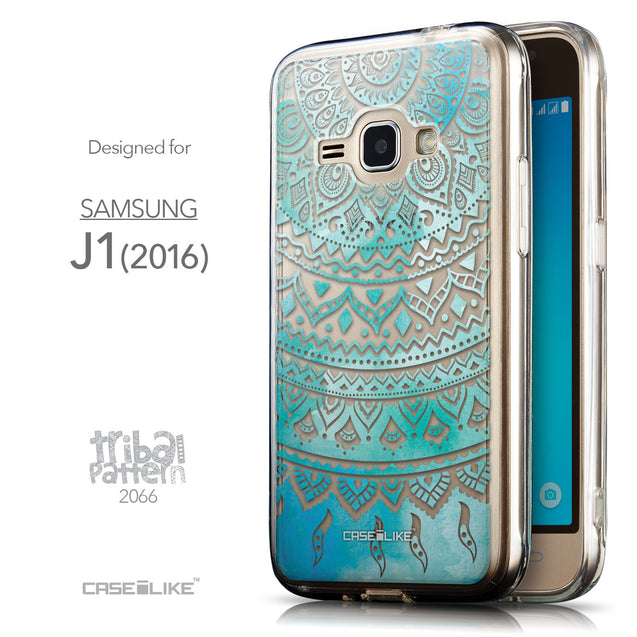 Front & Side View - CASEiLIKE Samsung Galaxy J1 (2016) back cover Indian Line Art 2066