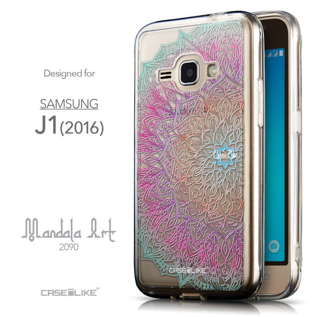 Front & Side View - CASEiLIKE Samsung Galaxy J1 (2016) back cover Mandala Art 2090