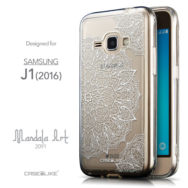 Front & Side View - CASEiLIKE Samsung Galaxy J1 (2016) back cover Mandala Art 2091