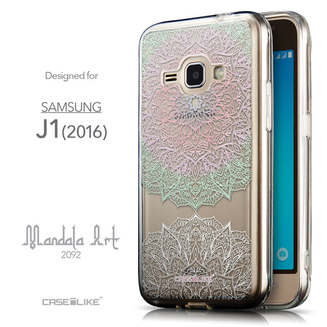 Front & Side View - CASEiLIKE Samsung Galaxy J1 (2016) back cover Mandala Art 2092