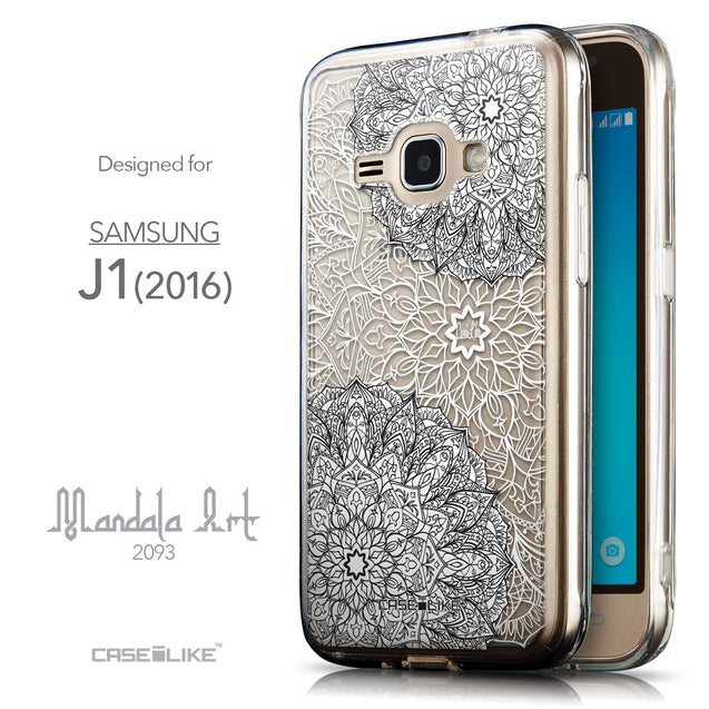 Front & Side View - CASEiLIKE Samsung Galaxy J1 (2016) back cover Mandala Art 2093