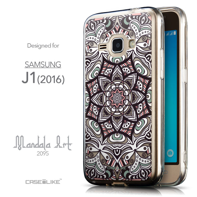 Front & Side View - CASEiLIKE Samsung Galaxy J1 (2016) back cover Mandala Art 2095