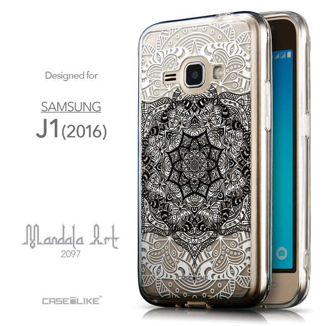 Front & Side View - CASEiLIKE Samsung Galaxy J1 (2016) back cover Mandala Art 2097