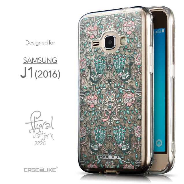 Front & Side View - CASEiLIKE Samsung Galaxy J1 (2016) back cover Roses Ornamental Skulls Peacocks 2226
