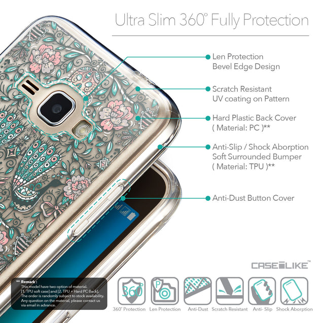 Details in English - CASEiLIKE Samsung Galaxy J1 (2016) back cover Roses Ornamental Skulls Peacocks 2226