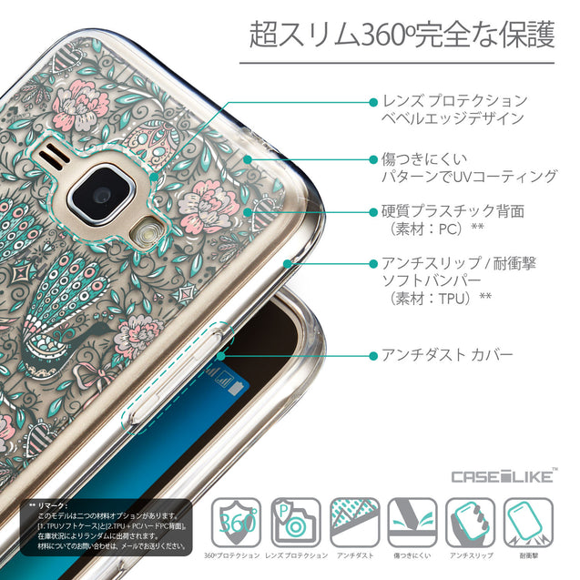 Details in Japanese - CASEiLIKE Samsung Galaxy J1 (2016) back cover Roses Ornamental Skulls Peacocks 2226