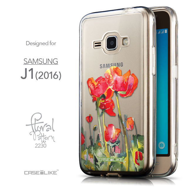 Front & Side View - CASEiLIKE Samsung Galaxy J1 (2016) back cover Watercolor Floral 2230