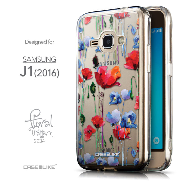 Front & Side View - CASEiLIKE Samsung Galaxy J1 (2016) back cover Indian Line Art 2061
