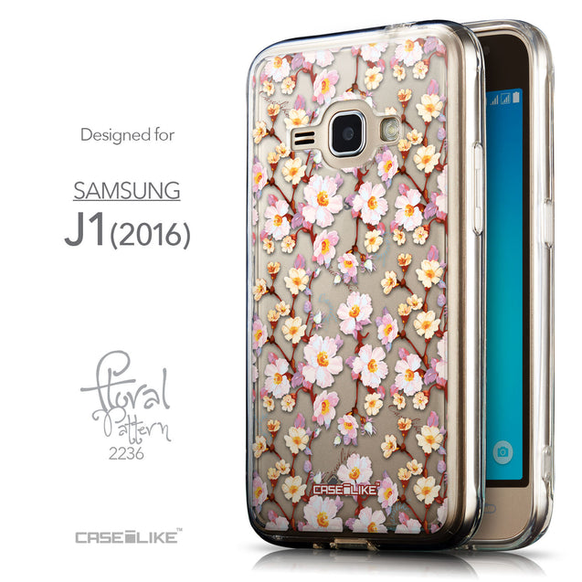 Front & Side View - CASEiLIKE Samsung Galaxy J1 (2016) back cover Watercolor Floral 2236