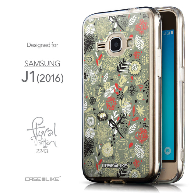 Front & Side View - CASEiLIKE Samsung Galaxy J1 (2016) back cover Spring Forest Gray 2243