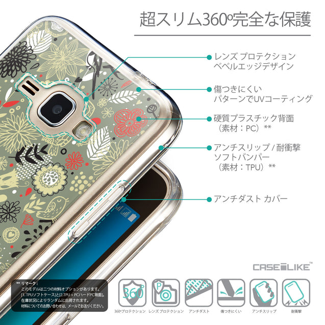 Details in Japanese - CASEiLIKE Samsung Galaxy J1 (2016) back cover Spring Forest Gray 2243