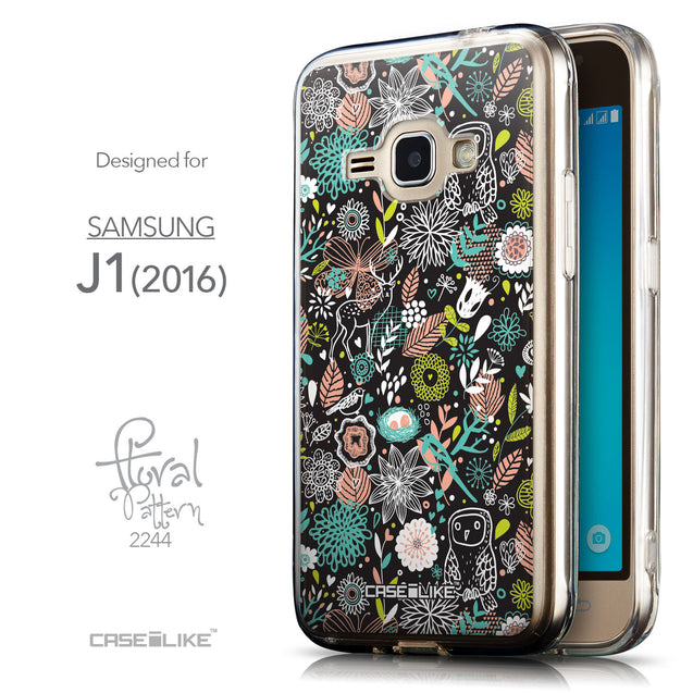Front & Side View - CASEiLIKE Samsung Galaxy J1 (2016) back cover Spring Forest Black 2244