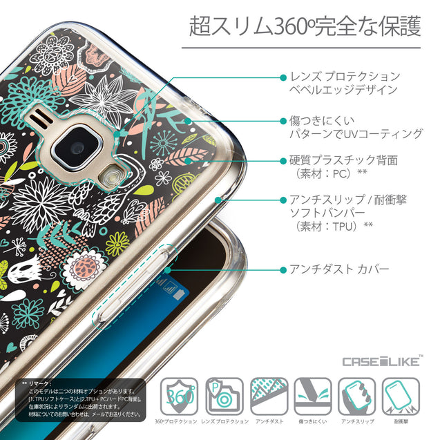 Details in Japanese - CASEiLIKE Samsung Galaxy J1 (2016) back cover Spring Forest Black 2244