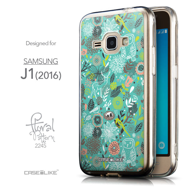 Front & Side View - CASEiLIKE Samsung Galaxy J1 (2016) back cover Spring Forest Turquoise 2245